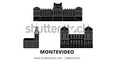 Vector de stock (libre de regalías) sobre Uruguay Montevideo Flat Travel Skyline Set1366115312
