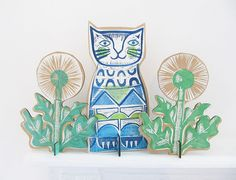 Clever Cat by SamGroomPrintmaker on Etsy Sam Groom, Printmaking, Clever, Trending Outfits, Cats, Unique Jewelry, Wood, Handmade Gifts, Prints