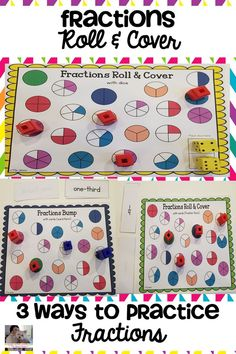 Roll & Cover games are a fun, hands-on activity that engages students as they practice identifying fractions These games can easily be used in small group instruction, math centers, whole class activity, as a supplemental to your math curriculum, or as a fast finisher activity. There is no prep, just print and play! #elementary #math #fractions #geometry #mathgames #rollandcovergames #teaching