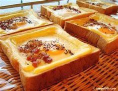 japanese egg bake - thick japanese bread, cheese, egg & pancetta