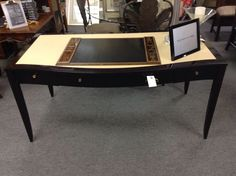 Desk - Formal desk with leather inlay  Item 1228-21 Price $1100.00      - http://takeitorleaveit.co/2016/08/26/desk-3/