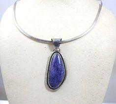 Navajo Necklace Pendant. Purple Sugilite Sterling Silver