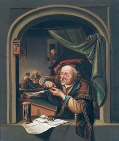 Op het notariskantoor. Jaar: ? Particulier bezit. Naar Gerard Dou: Oude man die zijn pen snijdt, ook genoemd: de oude schoolmeester. 1671