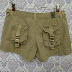 Lucky Brand Military Cargo Short Shorts Womens Sz 26 Flap Pockets Distressed #LuckyBrand #Cargo #Summer