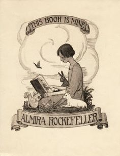 ≡ Bookplate Estate ≡ vintage ex libris labels︱artful book plates - by Frances Washington Delehanty (1879-1977) for Almira Rockefeller, 1920