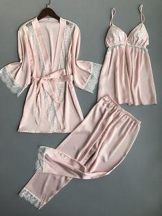 Sleepwear 2019 Spring Autumn Women Pijama Silk Pajamas Women Pyjamas Set Home Clothing Pink XL Pyjamas, Silk Pajamas, Sleepwear Women, Pajamas Women, Womens Pyjama Sets, Cardigans For Women, Nightwear, Pajama Set, Look