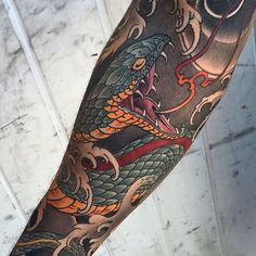 Japanese tattoo sleeve by @billcanales.