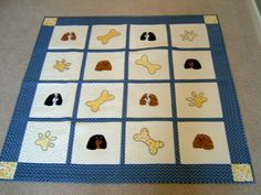 Blue Quilt with Cavalier Kind Charles Spaniels embroidered and applique'