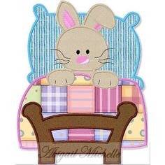 Bed Bunny Applique - 3 Sizes!