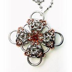 Aurora's Cross Chainmaille Pendant (Copper Accent) - Saniki Creations
