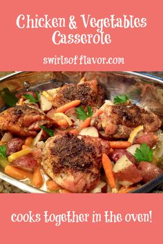 Roasted Chicken And Vegetables Oreganata is an easy recipe with chicken thighs, vegetables and potatoes that roast in a buttery lemon garlic sauce with the perfect hint of oregano!