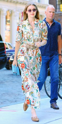 24455b2e6f2 Gigi Hadid dressed up a pair of Freda Salvador mules with a floral Alberta  Ferretti dress