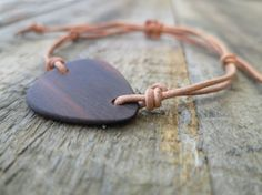 Mens Wooden Guitar Pick Leather Bracelet