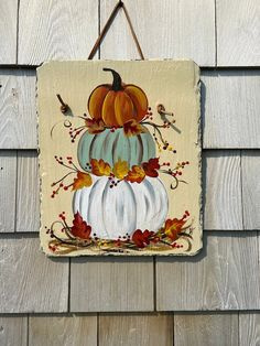 Fall Canvas Painting, Autumn Painting, Fall Paintings, Autumn Art, Artwork Paintings, Tole Painting, Painted Slate, Hand Painted, Fall Wood Crafts