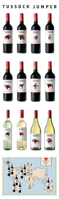 Tussock Jumper Wines. The label is effective in reflecting where each of the wine flavours originate from shown through the realistic, detailed black and white illustration of a native animal from each country. All the labels are tied together as a set with the red pop of colour from the jumper that each animal is wearing. The red does not conceal but instead is an overlay that allows the black and white detailed drawing underneath to still be seen.