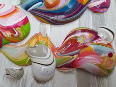 Barbacá - 200 x 80 x 4,5 cm - reeds gereserveerd | 1. Schilderijen: KLEUR -bont | Galerie Taupe STUDIO 's-Hertogenbosch. Groot kleurrijk abstract schilderij, bonte kleuren met zeer dikke verf en klodders op het doek.