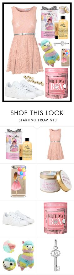 """""""#233 it's my birthday """" by xjet1998x ❤ liked on Polyvore featuring philosophy, Glamorous, Casetify, Lily-Flame, adidas, Soap & Glory and Links of London"""