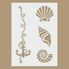 Shells & Anchor Reusable Plastic Stencil Shells and anchor template Anchor Stencil, Stencil Painting, Body Painting, Stenciling, Stencil Templates, Stencil Patterns, Stencil Designs, Coffee Artwork, Deco Marine