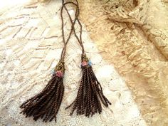 CHARMING METALLIC TASSELS HANDMADE OUT OF 19TH CENTURY TRIM LACE ROSETTES