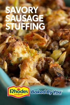 Tired of the same old stuffing? Sausage Stuffing is flavored with ground sausage, onion, celery, herbs AND Rhodes delicious bread cubes. This recipe is the ultimate Thanksgiving side dish.