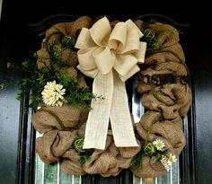 Burlap Door Wreath Square Shape by JoyfullyYoursWreaths on Etsy, $65.00