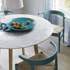 Jensen Dining Table With Carrera Marble Top From Crate And Barrel - Round marble breakfast table