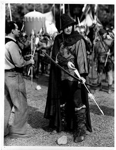 """The Adventures of Robin Hood"" (1939) - Errol Flynn prepares to shoot the archery contest scene - Directed by Michael Curtiz - Warner Bros."