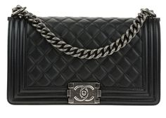This Chanel Black Quilted Lambskin Leather Medium Boy Bag will easily become your everyday bag. The boy bag features diamond quilting with linear quilting on the edges and the boy push lock closure. T