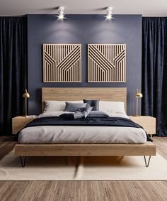 We made this Modern Wall Art set so you can easily add some sophistication to your home! It doesn't matter how big or small your space is- this wall art set is available in several sizes so you can create a stunning focal point in any room! Wood Panel Walls, Wooden Walls, Wall Art Sets, Diy Wall Art, Large Wood Wall Art, Japanese Bedroom, Bedroom Decor, Master Bedroom, Furniture Design