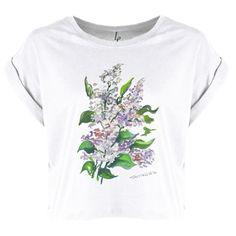 Bluzka organic z bzami. Modny krój i piękna akwarela, wyróżnij się.