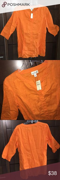 """Orange linen tunic-NEW! Fun and fresh 100% linen tunic. Split neck and cuffs, front left pocket, BRAND NEW NEVER WORN WITH TAGS. 29"""" long. Coldwater Creek Tops Tunics"""
