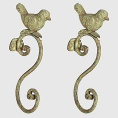 Distressed Green Metal Hook With Bird, Set of 2