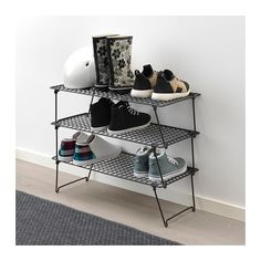 IKEA - GREJIG, Shoe rack, Just as practical for everyday shoes in the hallway as for fancy shoes in the wardrobe. And since the rack is foldable, you can have some extra racks in the hallway closet that you can unfold and stack when you have guests. Ikea Chair, Diy Chair, Swivel Chair, Ikea Deco, How To Clean Laminate Flooring, Hallway Closet, Shoe Rack Hallway, Diy Furniture Couch, Rack Design