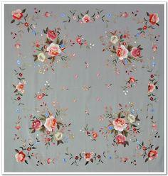 Hand Embroidered silk piano shawl/Piano cover/Mantón de Manila/Flamenco shawl | eBay