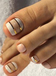 Simple Toe Nails, Pretty Toe Nails, Summer Toe Nails, Cute Toe Nails, Toenail Art Designs, Pedicure Designs, Manicure E Pedicure, Pedicures, Pedicure Ideas