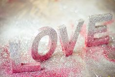 DIY glitter words ( buy wood letter blocks and paint then spray paint with glitter )
