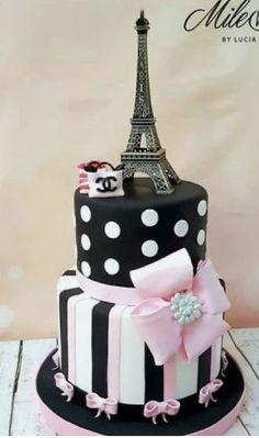 Paris Birthday Cakes, Girly Birthday Cakes, Paris Themed Cakes, Paris Birthday Parties, Paris Cakes, Paris Party, Quinceanera Cakes, 11th Birthday, Cake Art