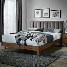 null Transform your bedroom with the Geneva Platform bed. The Mid-Century Modern headboard is channel tufted for added comfort. Upholsterd in a durable grey velvet and accented with a walnut finsh frame. Brass-capped legs add a hint of sophistication. Diy Platform Bed, Upholstered Platform Bed, Upholstered Beds, Modern Headboard, Headboards For Beds, Queen Headboard, California King Bedding, Bed Reviews, Adjustable Beds