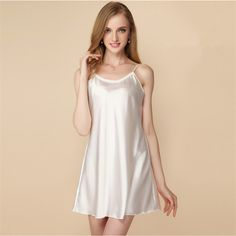 aa6bb17daf2 Ladies Sexy Silk Satin Night Dress Thin Nighties Nightgown Plus Size  Spaghetti Strap Lace Sleepwear Sleepshirts