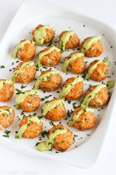 Baked Salmon Meatballs with Creamy Avocado Sauce...Fantastic flavor and packed with omega-3s! 295 calories and 6 Weight Watchers SmartPoints #recipe #healthy