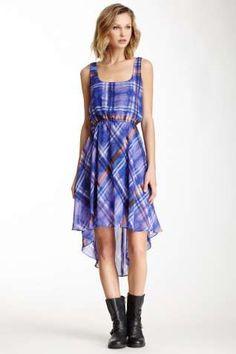 Necessary Objects Plaid Print Hi-Lo Dress