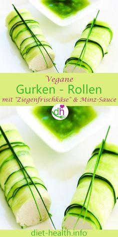 """Die Gurken-Röllchen mit """"Ziegenfrischkäsefüllung"""" und feiner Minz-Sauce zum Dippen sind ideal als Fingerfood, zum Apéro oder als vegane Beilage für sommerliche Grillabende! Die vegane Cremefüllung besteht aus Nüssen und ist einfach herzustellen! #veganerkäse #väse #käsealternative"""