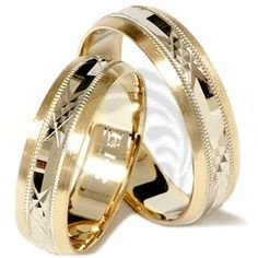 High Quality 14k Yellow Gold His Her Rings 6 mm