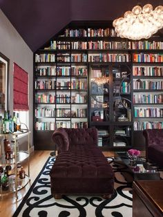 50 Super ideas for your home library. I like the bookshelves built around an armoire. More photos here