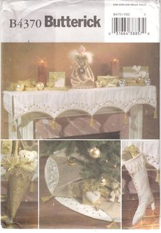 Victorian Christmas Decorations Mantle Cloth Angel Stocking Butterick 4370 Uncut #Butterick4370