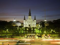 St. Louis Cathedral presides over bustling Jackson Square.    Photograph by Driendl Group, Getty Images