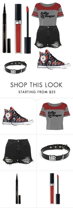 """""""Harley Quinn"""" by alyssaclifford124 ❤ liked on Polyvore featuring Converse, Topshop, Elizabeth Arden and Christian Dior"""