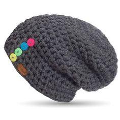 Ručně háčkovaná čepice s knoflíky DOKE Dark Crotchet, Knit Crochet, Crochet Hats, Crochet Ripple, Lana, Crochet Patterns, Knitting, Unisex, Tips