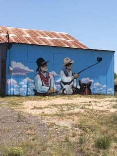"""Rankin, in West Texas, is taking a page out of Marfa's quirky art book with its latest installment: a barn with a mural of two famous cowboys - Augustus """"Gus"""" McCrae and Woodrow F. Call from """"Lonesome Dove"""" — using a selfie stick."""