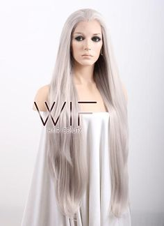 """20"""" / 28"""" / 39"""" Long Straight Grey Blonde Customizable Lace Front Synthetic Hair Wig LF238A"""